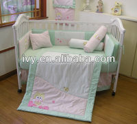 7pcs set 100%cotton fabric custom crib bedding