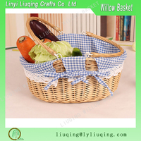 New design wicker empty picnic basket cane picnic basket picnic basket with flexible handle and liner