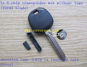 new uncut To G chip transponder key (non logo/TOY43 blade/unsealed type  /chip is inserted into cover)