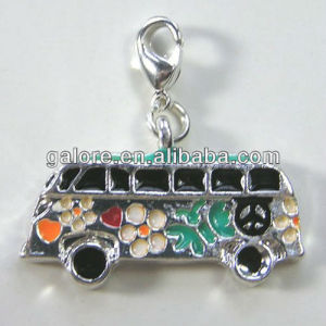 latest design silver flower hit hop school bus charms