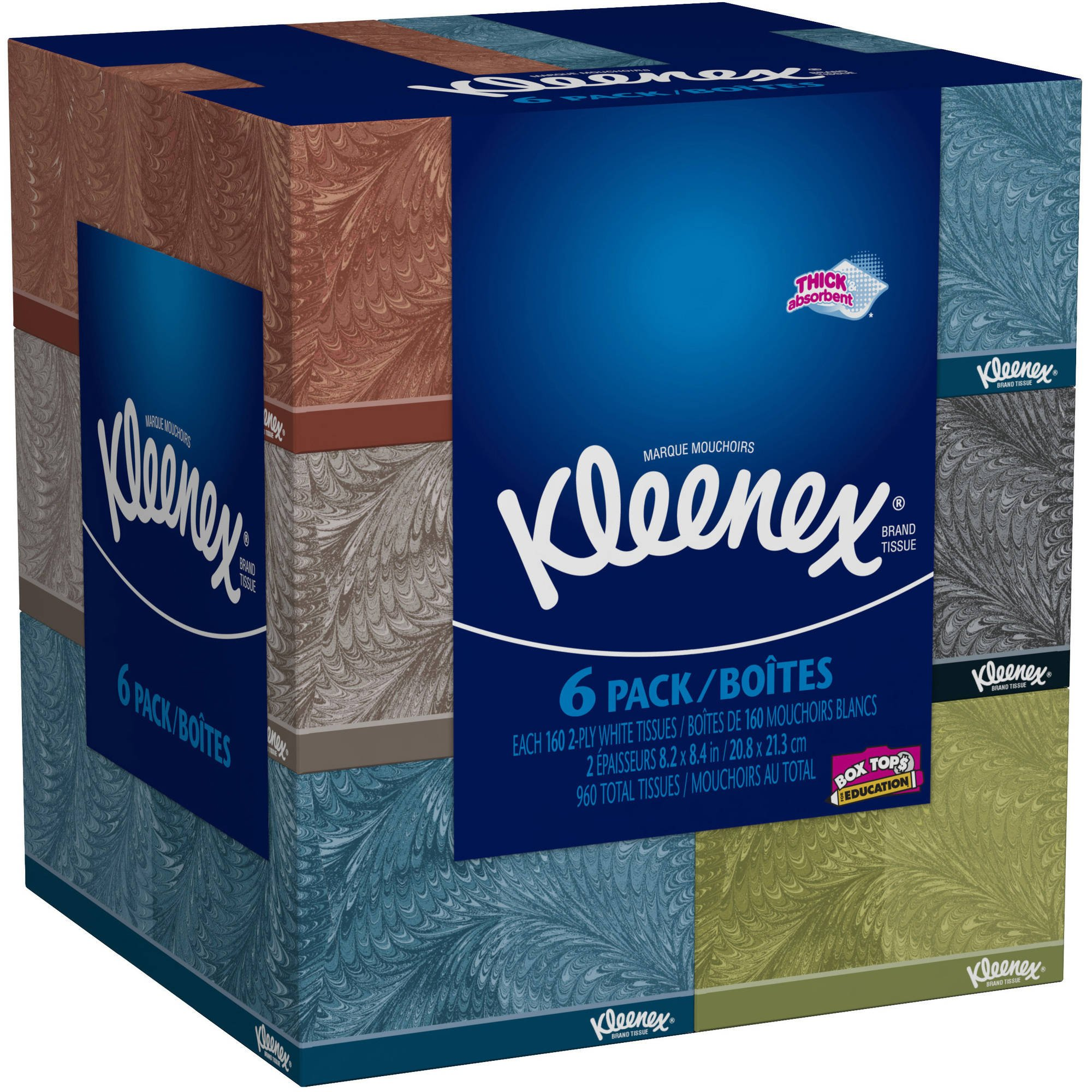 Kleenex Everyday Use, Soft Facial Tissues, Thick and Absorbent, 160, 2-PLY White Tissues, - 6 Bundle Pack - 960 Total Tissues. Variety of Assorted Colors and Designs.
