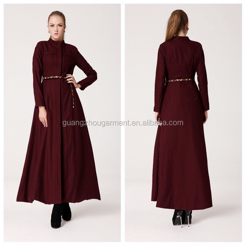 Women Slim Wool Blend Long Coat Woolen Trench Long Sleeve Full ...