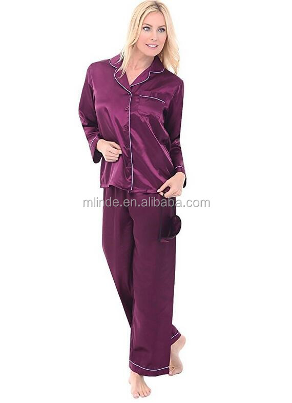 a0215b98f8 Satin Clothing Wholesale Custom Luxurious Long Button Down PJ Set Red Plain  Blank Silk Bridal Sleepwear