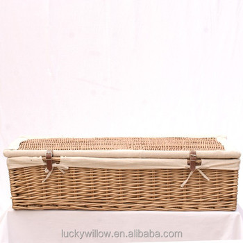 Handicraft Underbed Wicker Baskets With Lids And Fabric Liner