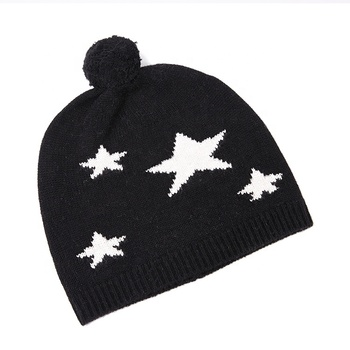 100% wool knitted star beanie pom pom ladies hat