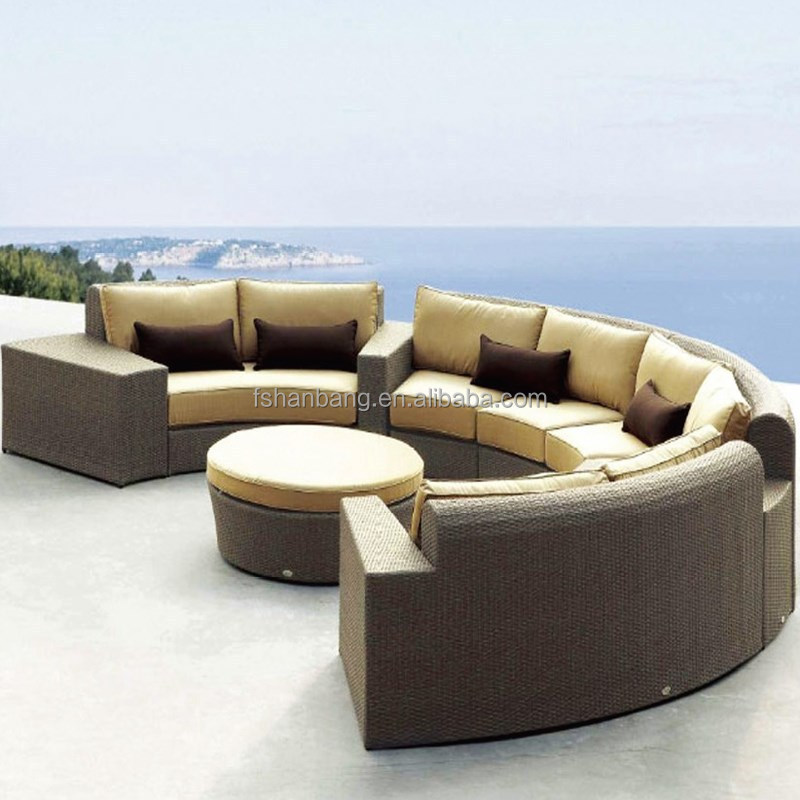 Moderne hars rieten outdoor rotan daybed sofa ronde salontafel set tuin sets product id - Sofa hars gevlochten buitenkant ...