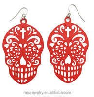 "Turquoise silver red purple 3"" Sugar Skull Laser Cut Fish Hook Dangle Large Earrings"