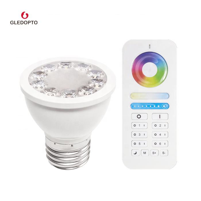 Gledopto factory directly sell IOT smart light living room wall light bulb rf rgb cct e26/e27 led ceiling <strong>Spotlight</strong> 5w par16