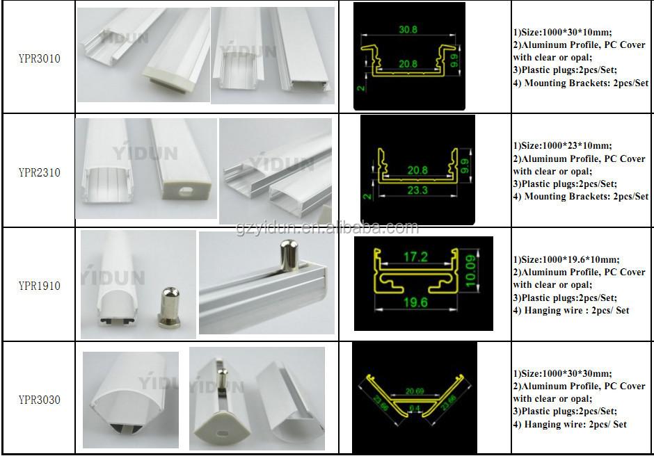 Types Of Aluminum Profiles Led Aluminum Profiles