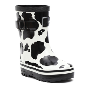 Fancy pattern online shop small moq black white cow print silicone rubber ankle child rain boots wellingtons with side buckle