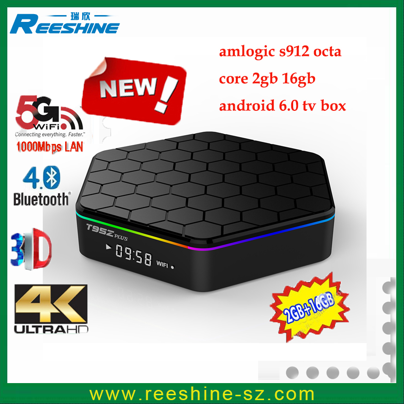 2016 Newest T95Z plus Amlogic S912 Octa Core android 6.0 <strong>tv</strong> <strong>box</strong> 2G /16G dual band wifi 1000M internet <strong>set</strong> <strong>top</strong> <strong>box</strong> T95Zplus