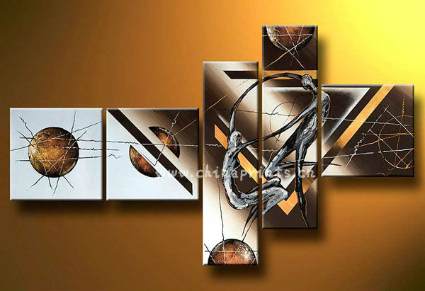 5 Panels Abstract Handmade Painting of Bronze,Canvas Art