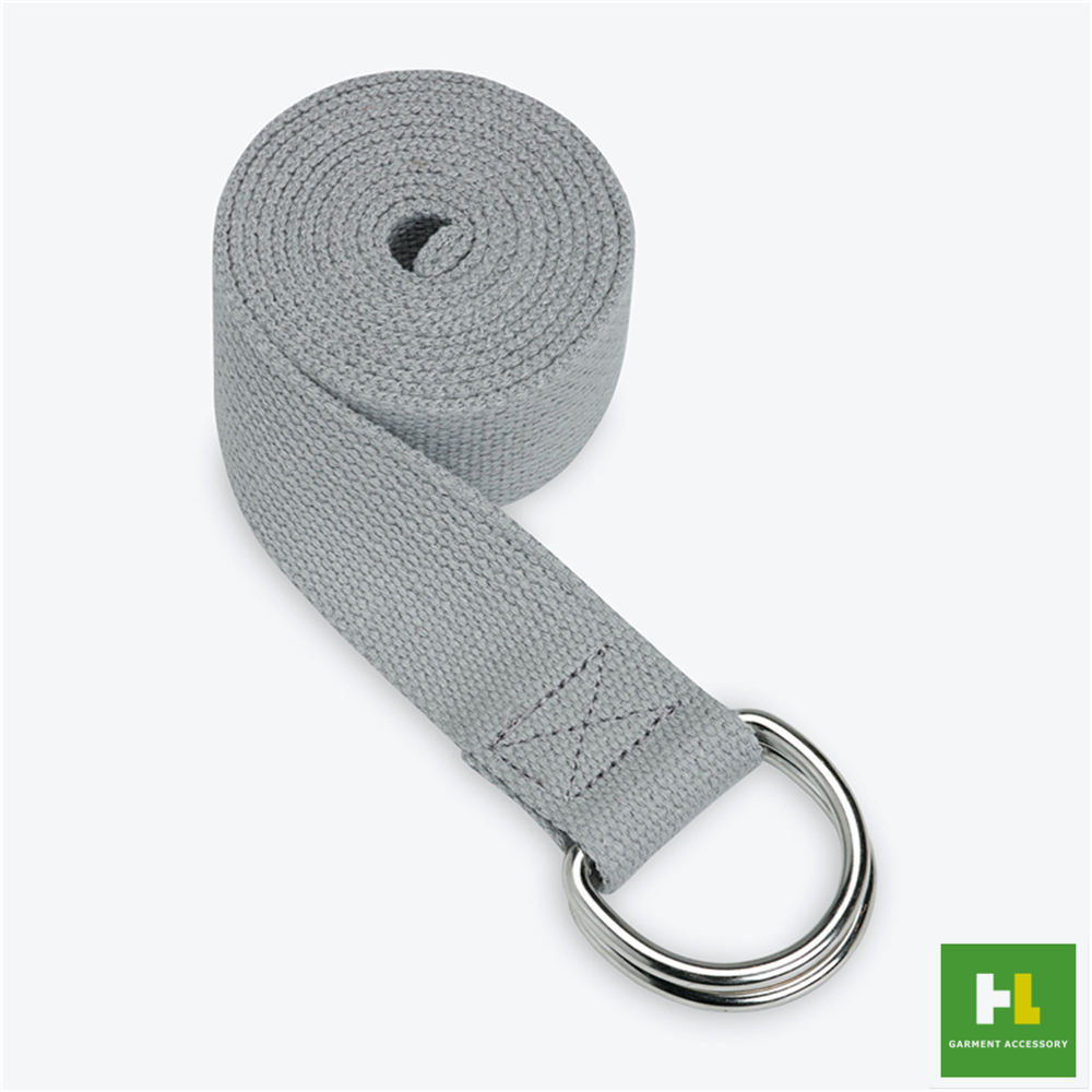 6 FT soft comfortable cotton yoga stretch strap with metal D ring