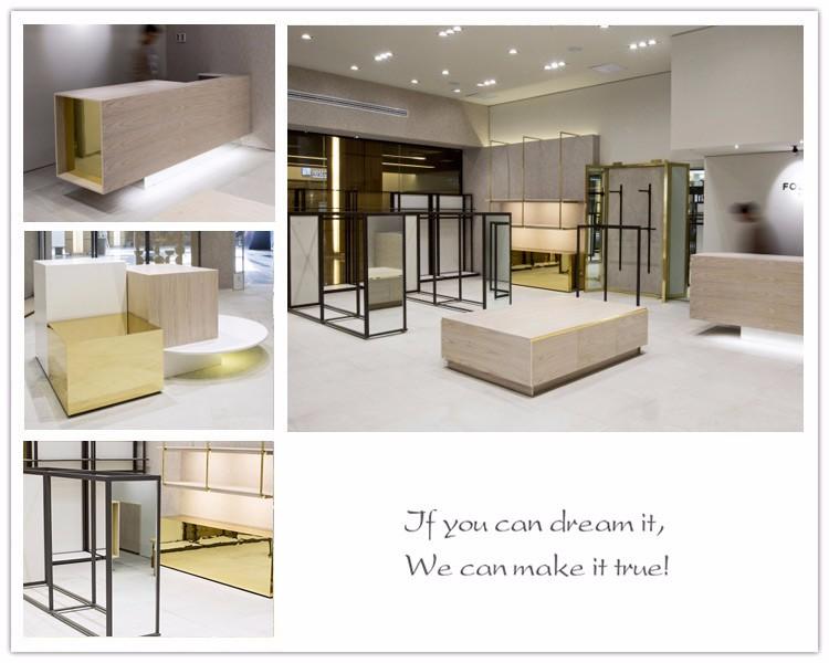 Modern Shop Counter Design For Garment Store Wall-mounted Garment ...