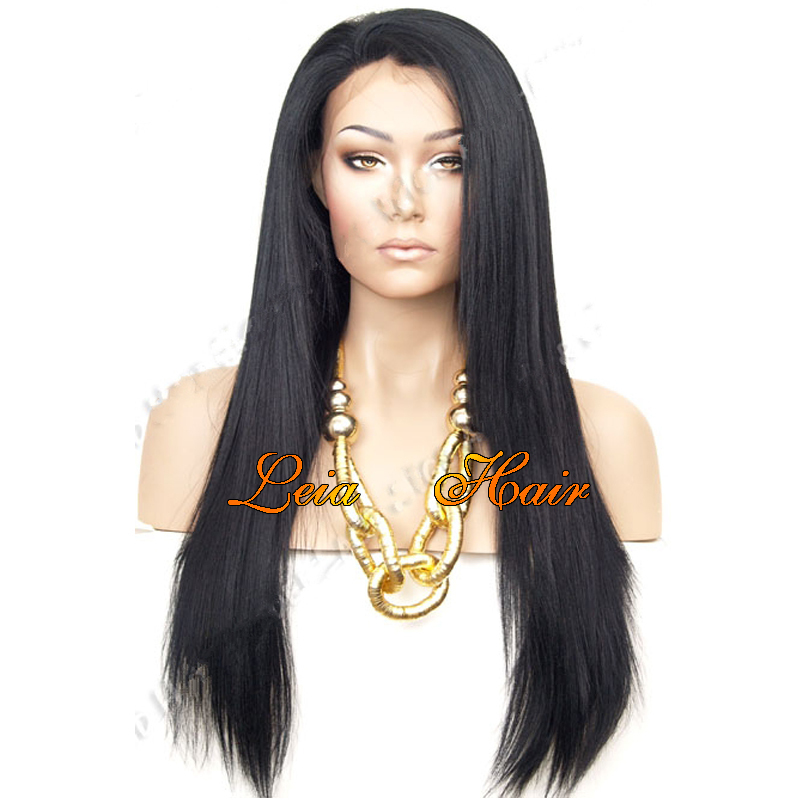 Black Wig Straight Synthetic Yaki Lace Front Wig Heat Resistant Natural Looking Kanekalon Cheap Glueless Long Wigs For Women