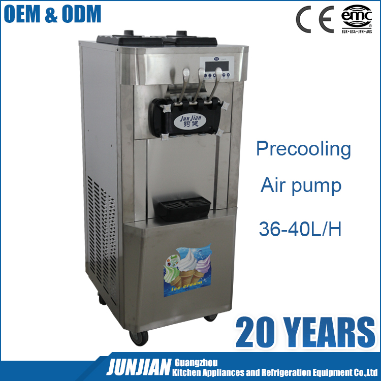OEM Embraco Compressor Stainless Steel Precooling Used Soft Serve Ice Cream Machine Commercial