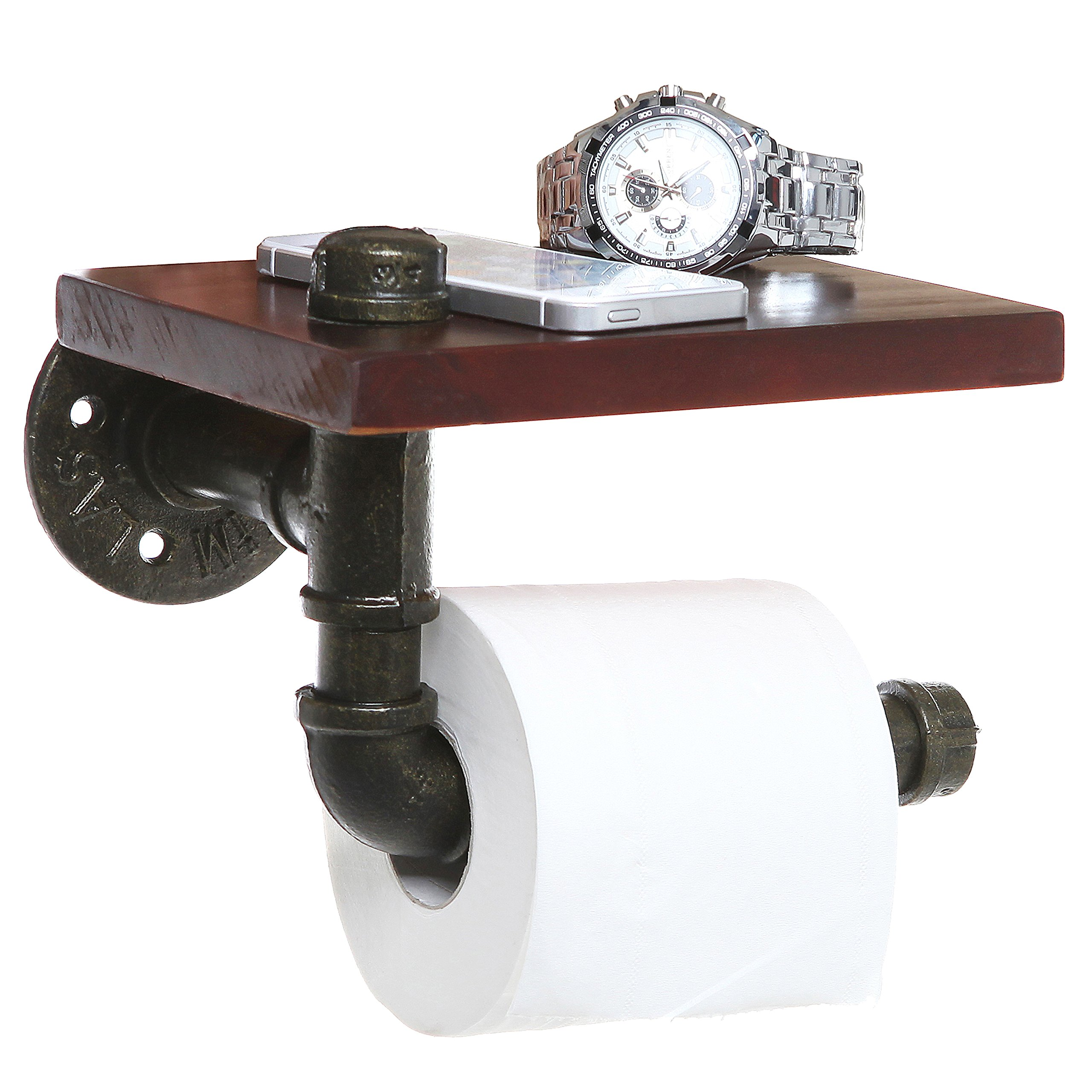 MyGift Rustic Style Pipe Design Brown Wood & Black Metal Wall Mounted Bathroom Shelf/Toilet Paper Roll Holder