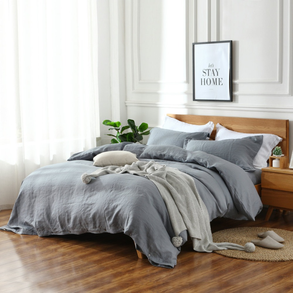 30 Color Choose 3 piece king queen twin Linen bedding <strong>sets</strong> 100% Pure French Linen Duvet cover <strong>Sets</strong>