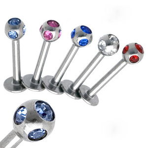 Multi Colorful Gems unique Crystal Piercing Labret Studs