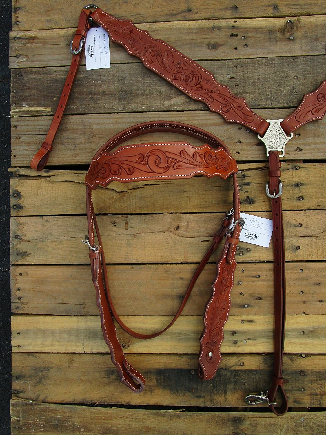 Headstall Breast Collar Floral Tooled Leather Western Horse Bridle