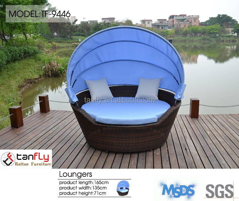 Fashionable Rattan/wicker Sun Lounger/round Sunbed With Adjustable ...