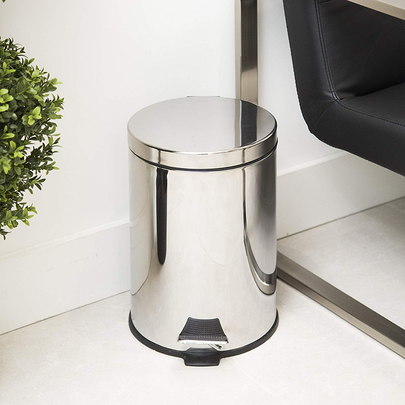 Simple Design Stainless Steel Foot Pedal dustbin Mini waste paper bin