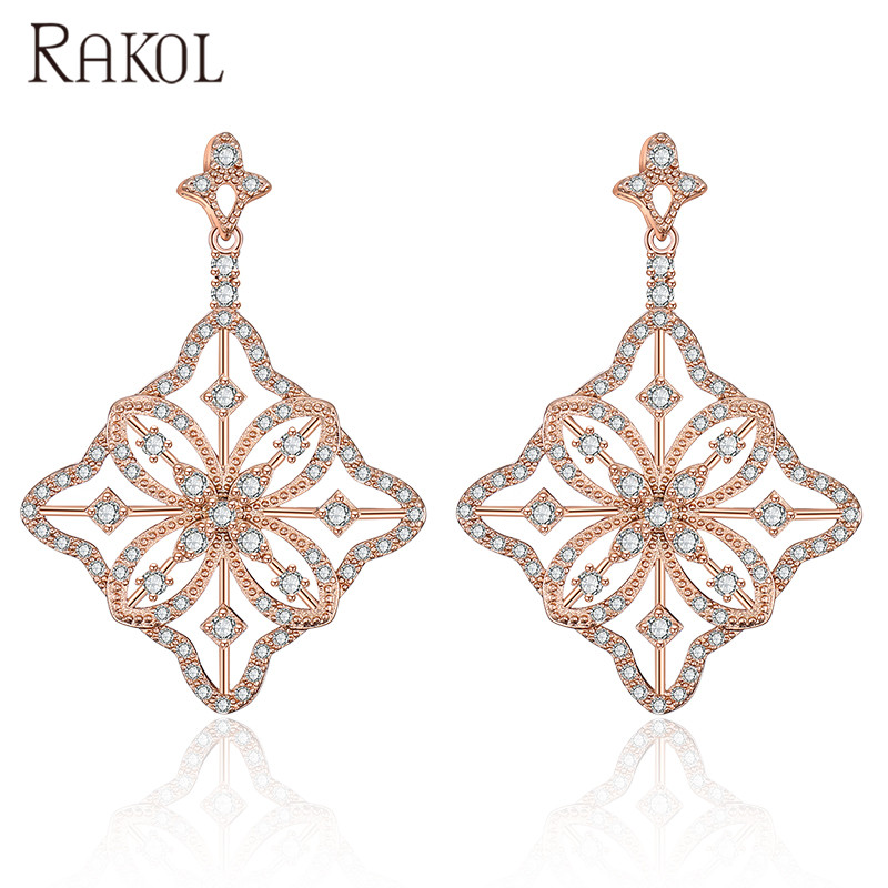 RAKOL E2199 Hot sale wholesale luxury minimalist <strong>flower</strong> shape rose <strong>gold</strong> zirconia <strong>earring</strong>