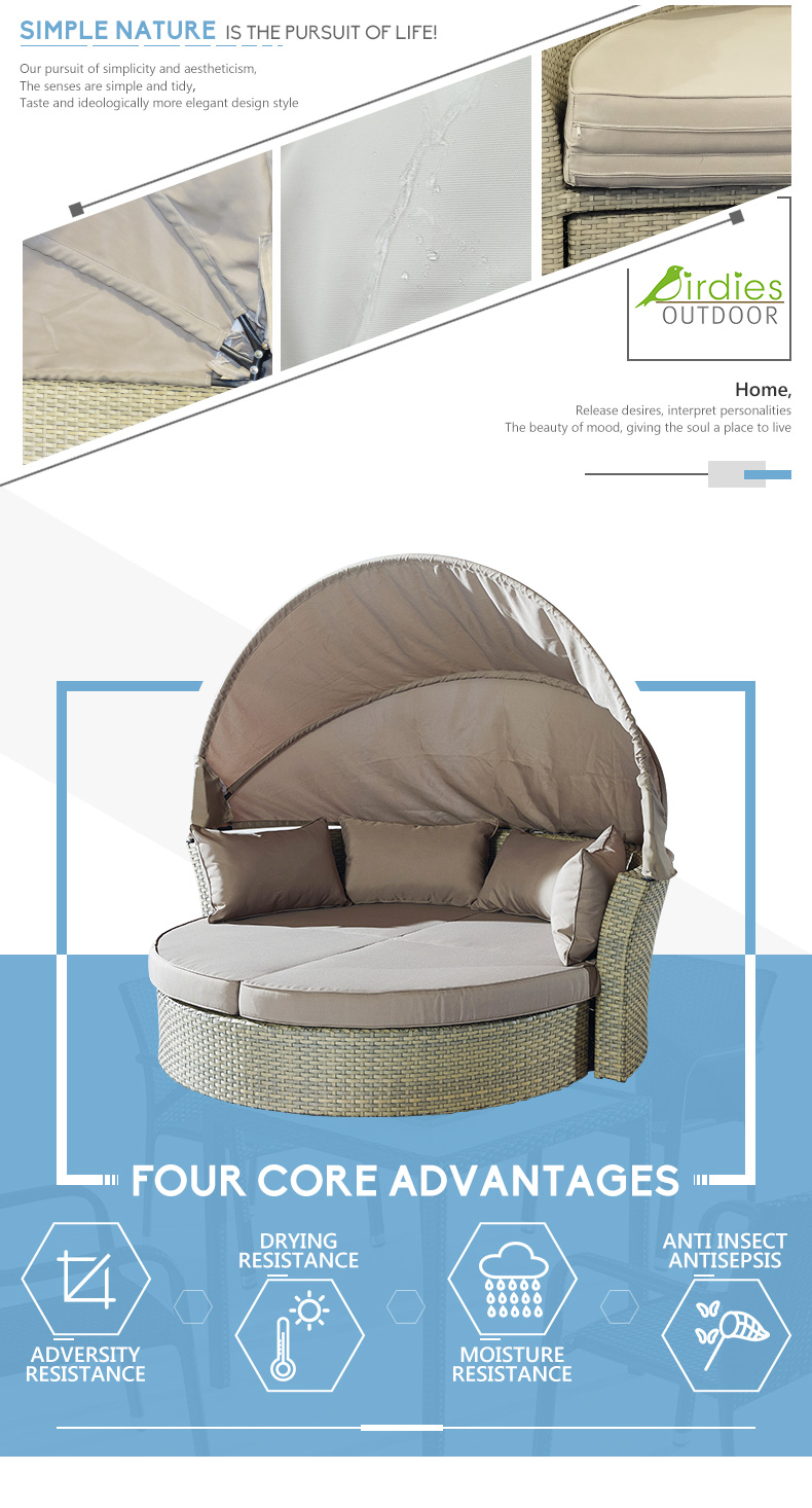Luxury Sunbed Rattan Lounger Chair Outdoor Lounge