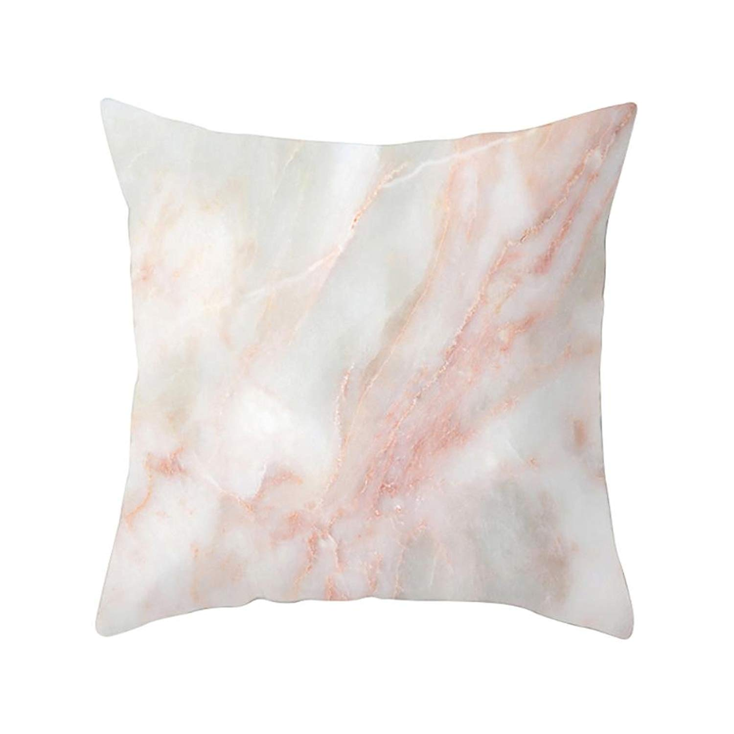 MaxFox Fabric Throw Pillow Cover 18 x 18 Inch 45 x 45 Cm Geometric Marble Texture Pillow Cover for Sofa Bedroom Car Decor