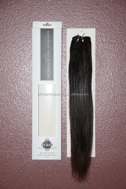 Custom Luxury Matt Uv Clear Window Emboss Foil Logo Hair Extension