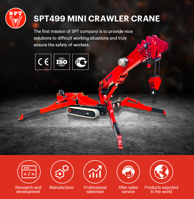 चीन SPT निर्माता मकड़ी मोबाइल मिनी क्रॉलर क्रेन के साथ यूरोपीय संघ के मानक