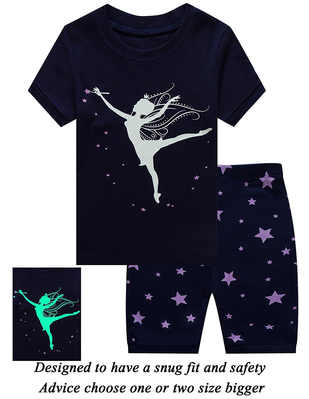 Dolphin&Fish Girls Christmas Pajamas Reindeer Kids Pjs 100% Cotton Toddler Clothes Sleepwear Shirts