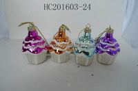 Cheap special color glass christmas cake outdoor decoration