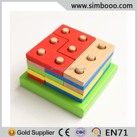 Multi-coloful Wooden Building Blocks Wood Puzzle Jagsaw Intelligence Toys