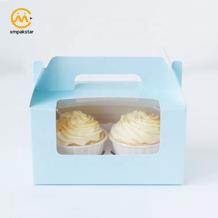 Wholesale cheap custom color paper two cheese cup cake packaging carrier box with window