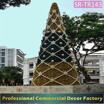 outdoor large giant artificial christmas tree with christmas ball decoration