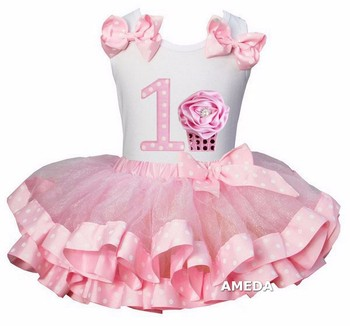 Girls Light Pink Pollka Dots Satin Trimmed Tutu with 1st Rosette Cupcake White Tank Top