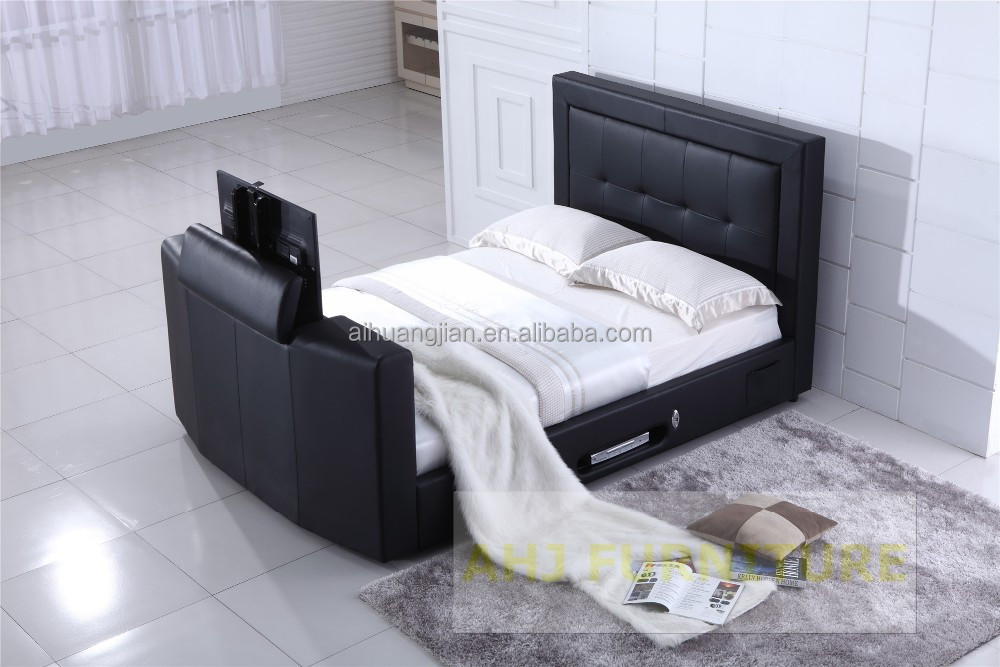 King Size Leather Bed With Tv In Footboard, King Size Leather Bed ...