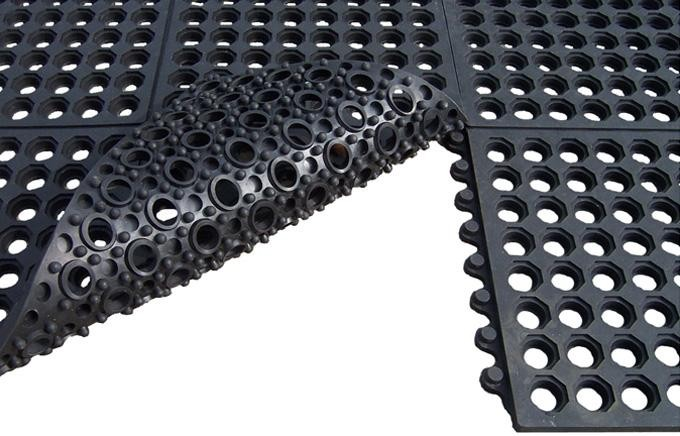 Rubber Interlocking Mat With Holes Gr Drainage Bar Shed Floor