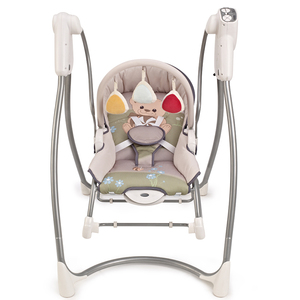Lovely Bear Printing Baby Swing Rocker, 2 in 1 Swing Bouncer, Multifunctional Baby Furniture