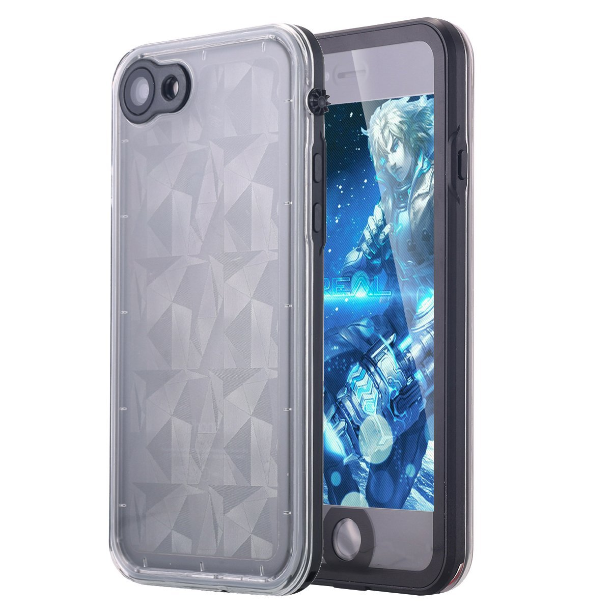 iPhone 7 Case, LONTECT Slim Thin iPhone 7 Waterproof Shockproof Dirtproof Snowproof Case with Clear Back Cover for Apple iPhone 7 - Black