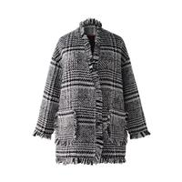 2018 Autumn And Winter New Raw Edge Long Gray Plaid Coat Wool Coat