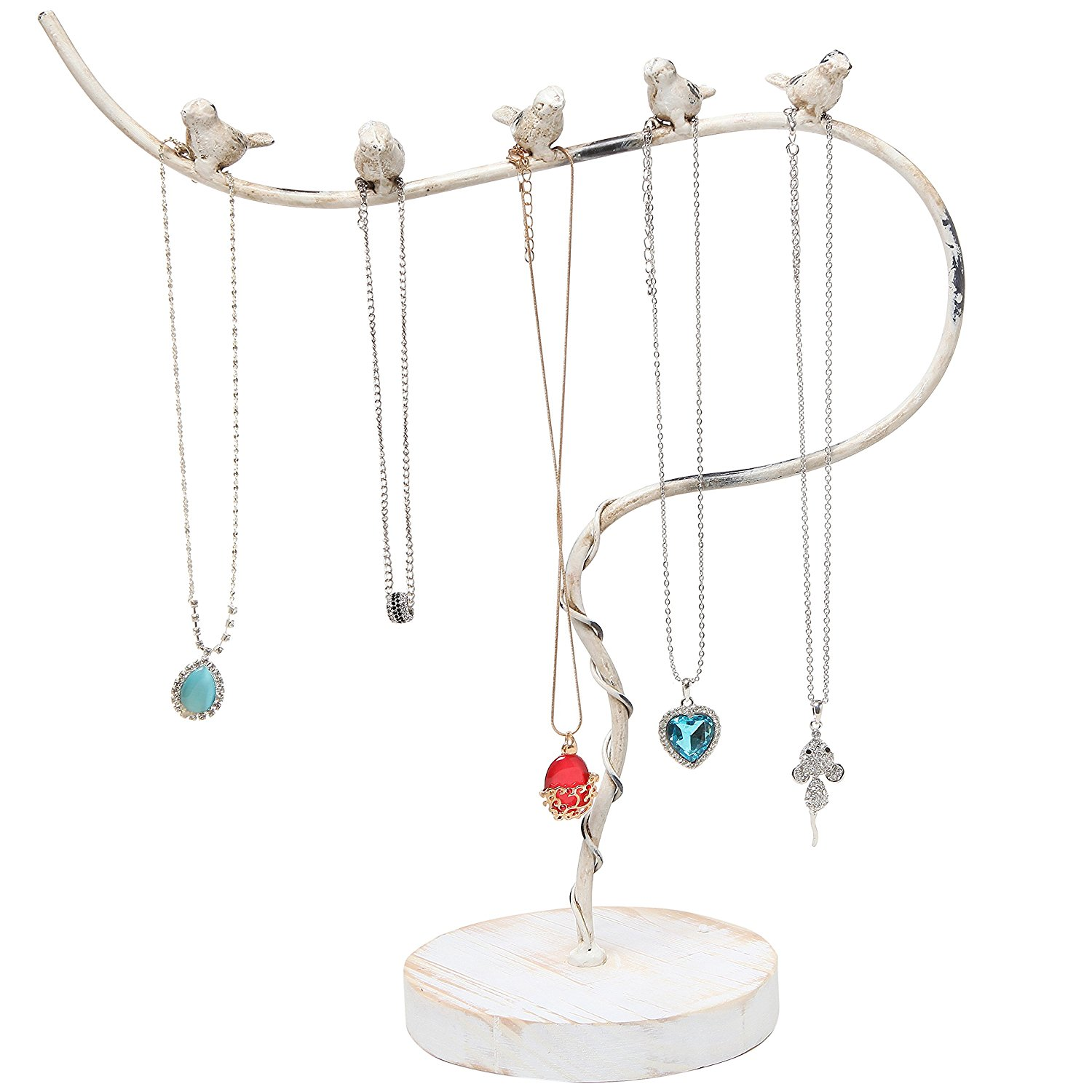 Vintage Style White Washed Metal Bird Design Necklace Jewelry Tree Rack with Wood Base