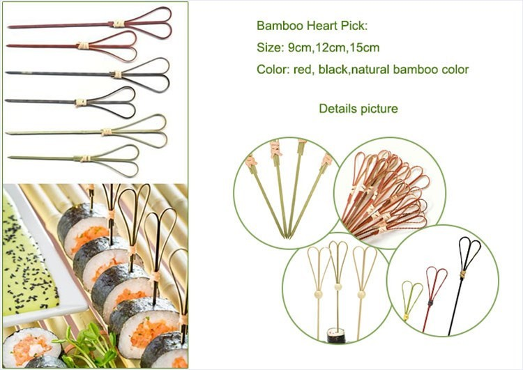 decorative bamboo heart skewers ginger sticks
