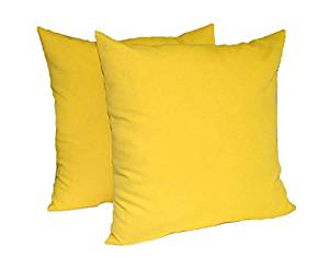"""Set of 2 - Indoor / Outdoor Over-sized / Large / Jumbo 24"""" Square Decorative Throw / Toss Pillows - Solid Yellow"""