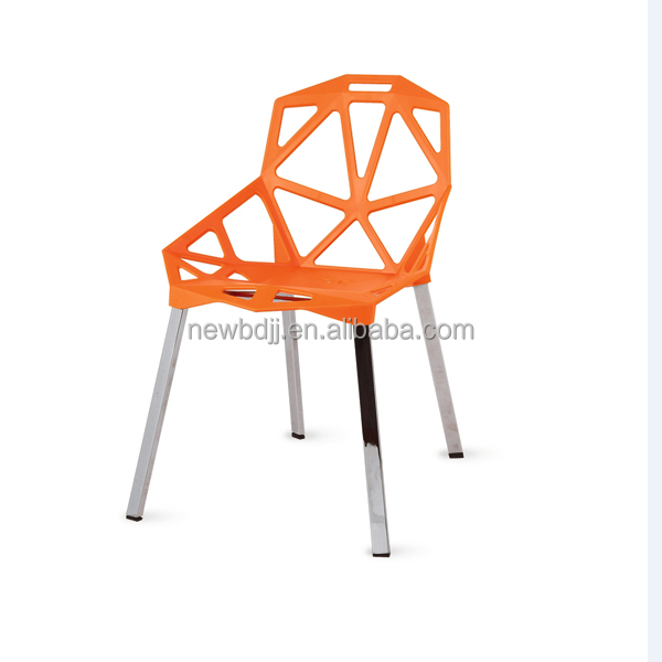 Home furniture no folded french style PP colored plastic dining chair