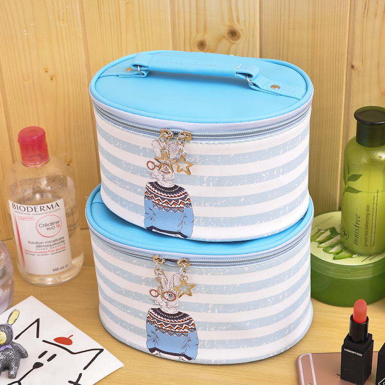 Wholesale fancy round PU leather cosmetic makeup organizer pouch toiletry bag