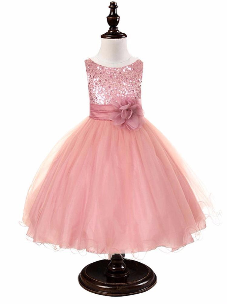 Vestido de la muchacha de flor 11 colores con Rosa fiesta de ...