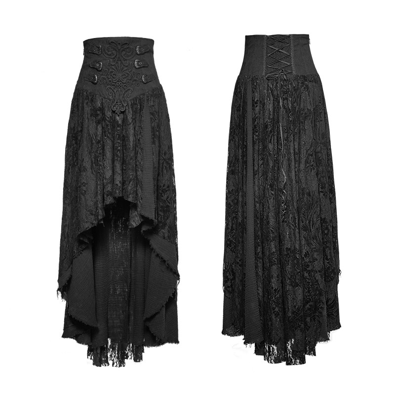 Q-313 Fancy palace black high waist flower embroidery high low skirt