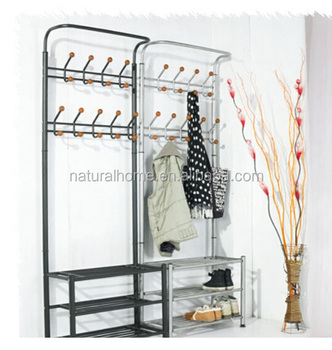 Home Furniture Metal Hat Stands Coat Hanger Stand With Shoe Rack